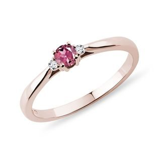 Tourmaline and diamond ring in rose gold