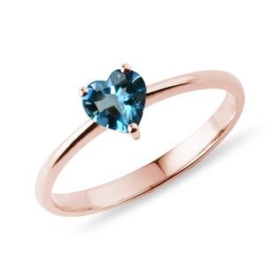 Bague en or rose avec topaze London Blue