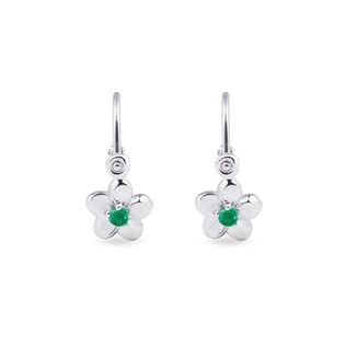 Kids' emerald flower earrings in 14kt gold