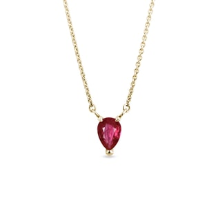Ruby teardrop necklace in yellow gold