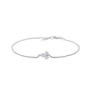 Trefoil diamond bracelet in white gold