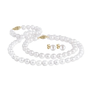Pearl jewelry set in 14kt yellow gold