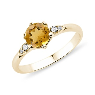 Citrine and diamond ring in yellow gold