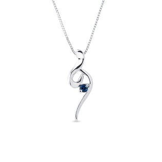 Original necklace made of white gold with sapphire