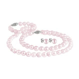 Pink pearl jewelry set in white gold