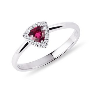 Rubellite and diamond ring in white gold