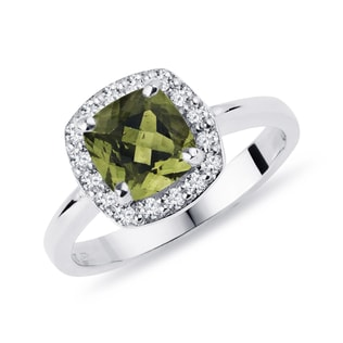 Moldavite and diamond halo ring in white gold
