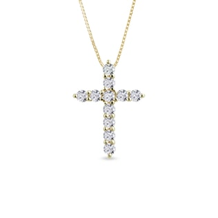 Diamond cross pendant in 14kt gold