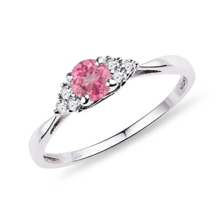 Bague en or, saphir rose et diamants