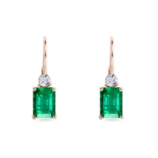 Emerald and diamond earrings in 14kt rose gold