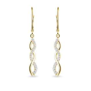 Diamond pendant earrings in yellow gold