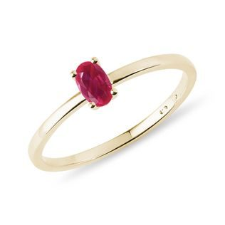 Minimalist ruby ring with ​​gold