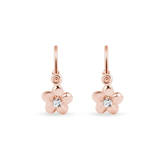 Diamond flower baby earrings in rose gold
