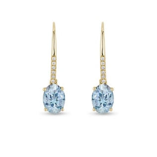 Earrings in yellow gold with topaz and diamonds