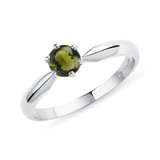 Round Moldavite ring in white gold