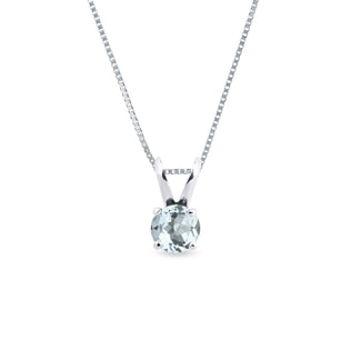 Aquamarine necklace in white gold
