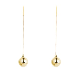 Orb pendant earrings in yellow gold