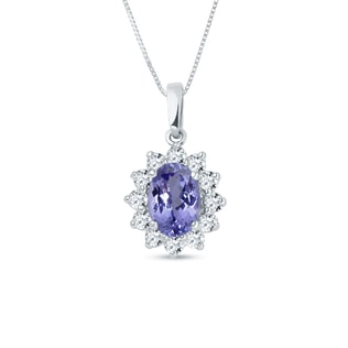 Tanzanite necklace with diamonds in white gold