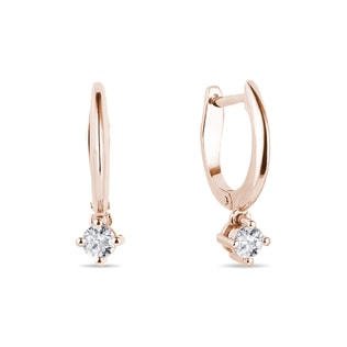 Diamond pendant earrings in rose gold