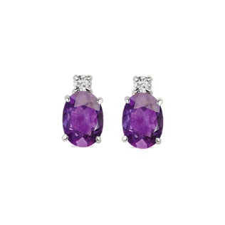 Earrings in white gold with amethysts and diamonds