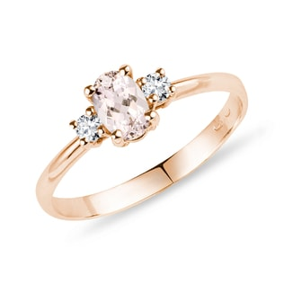 Bague or rose, diamants et morganite