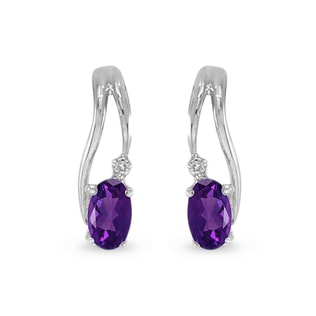 Amethyst and diamond earrings in white gold