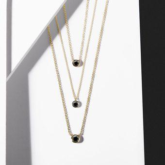 gold necklaces with black diamond yellow gold - KLENOTA