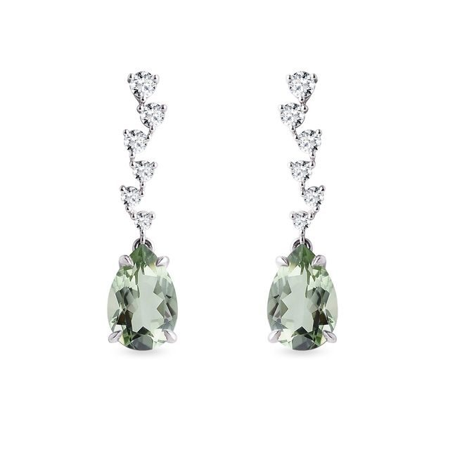 Green amethyst and diamond earrings in white gold