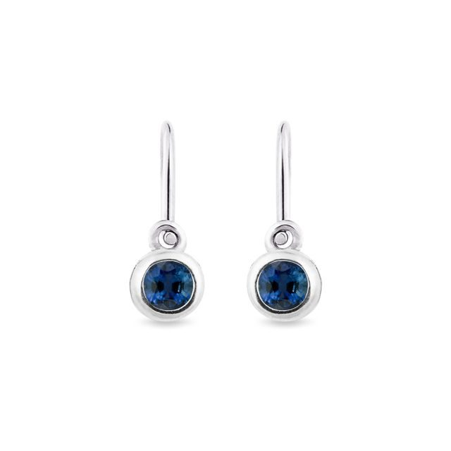 Children's earrings with sapphires in white gold