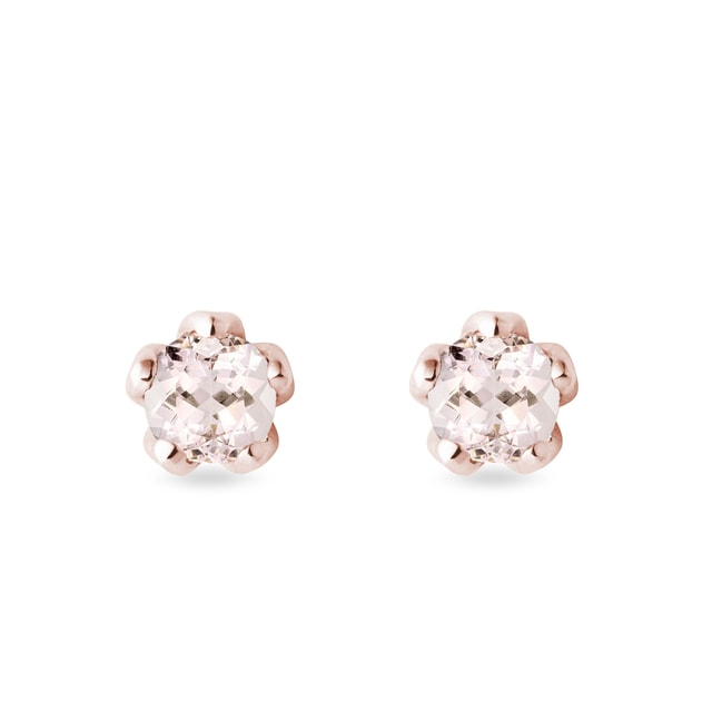 Puces d'oreilles en or rose et morganite