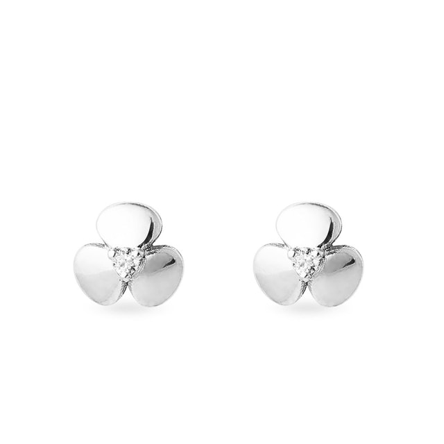 Shamrock diamond earrings in white gold