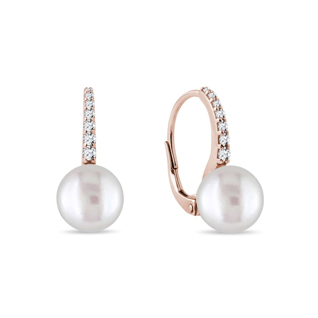Diamond earrings with pearls in pink gold