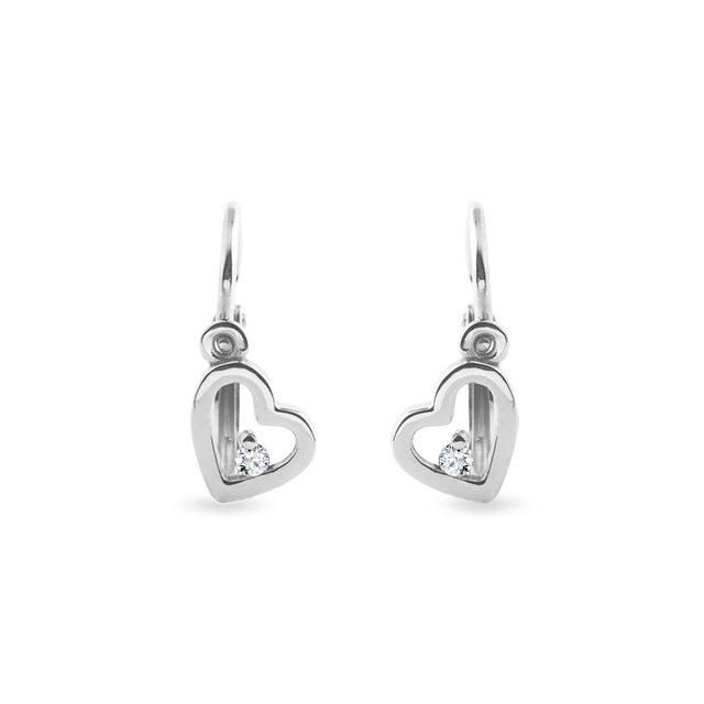 Children's heart-shaped earrings in white gold