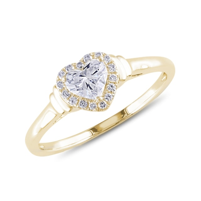 Diamond heart engagement ring in yellow gold