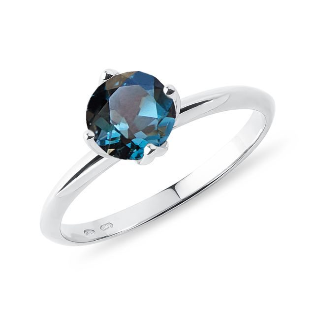 Topaz engagement ring in 14k white gold