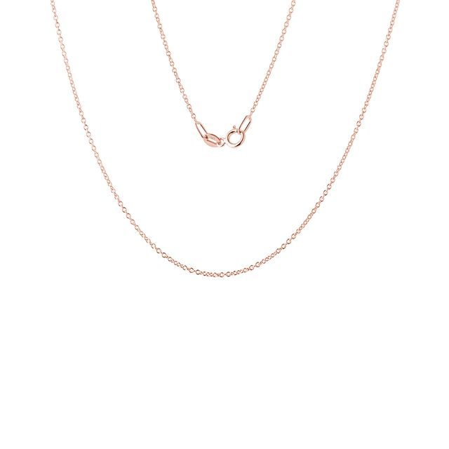 Ladies 45 cm rolo chain necklace in rose gold