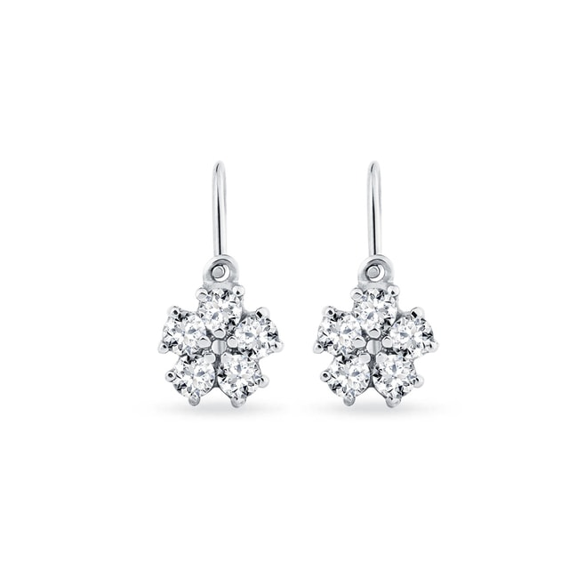 Children earrings with CZ stones flower