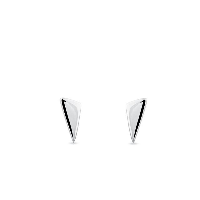 Triangular earrings in white gold