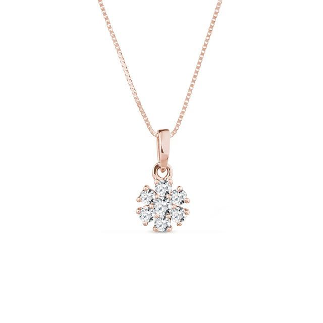 Diamond flower pendant in rose gold