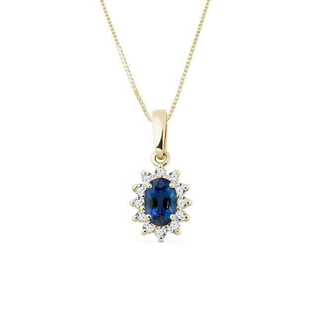 Sapphire necklace with diamonds