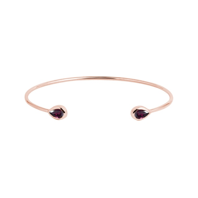 Modern rhodolite bracelet in rose gold