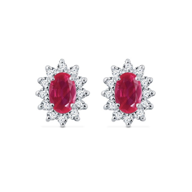 White gold earrings with diamonds and rubies