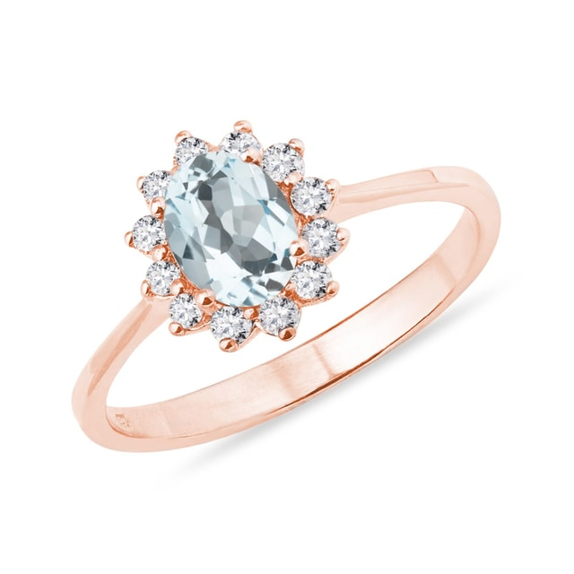 Aquamarine and diamond ring in 14kt rose gold