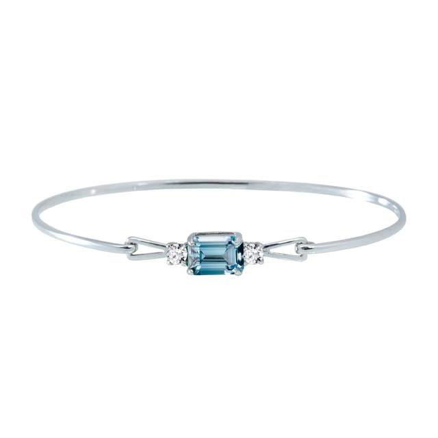 Topaz and diamond bracelet in white gold