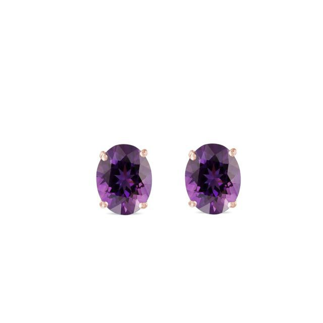 Oval amethyst earrings in rose gold