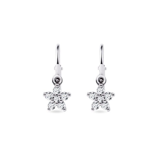 Children's star earrings with diamonds in white gold