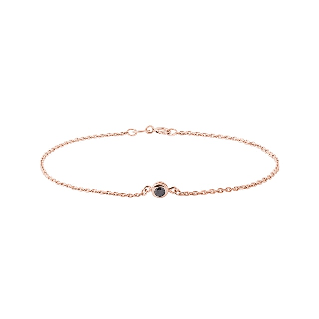 Black diamond bracelet in 14kt rose gold