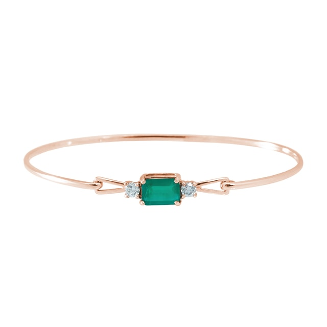 Rose gold bracelet with an emerald and diamonds