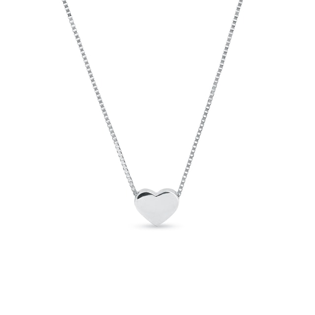 Necklace, heart-shaped white gold