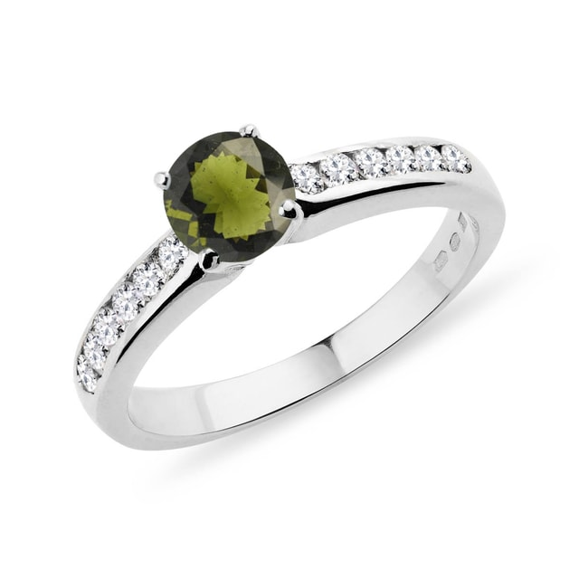 Moldavite and diamond band ring in white gold